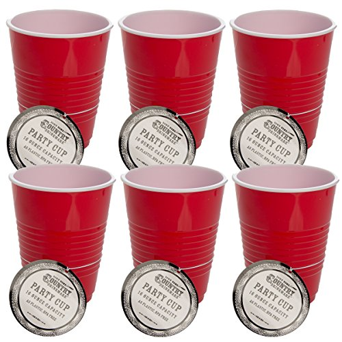 Down Home Co. (6 Pack) Plastic Cold Cups Set 16oz Red Party Cups Reusable Dishwasher Safe BPA-Free