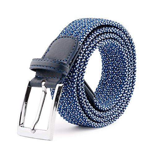 JasGood Men's Elastic Woven Stretch Casual Rubber String Belt Waistband Silver Metal Buckle, Blue, 45.3 Inch