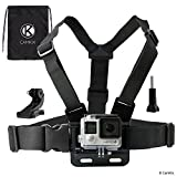 Chest Mount Harness for Gopro Hero 6, 5, Black, Session, Hero 4, Session, Black, Silver, Hero+ LCD, 3+, 3, 2, 1 – Fully Adjustable Chest Strap - Also Includes J-Hook/Thumbscrew/Storage Bag