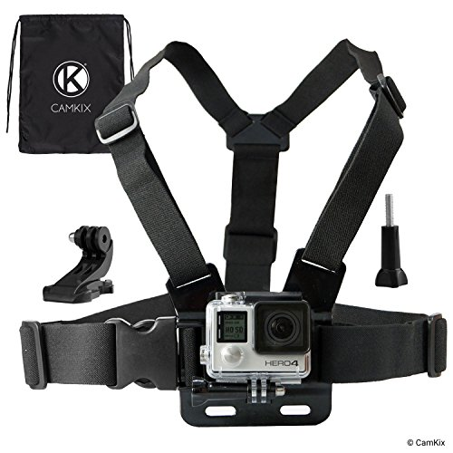CamKix Chest Mount Harness Compatible with Gopro Hero 7, 6, 5, Black, Session, Hero 4, Session, Black, Silver, Hero+ LCD, 3+, 3, 2, 1, DJI Osmo Action - Fully Adjustable Chest Strap