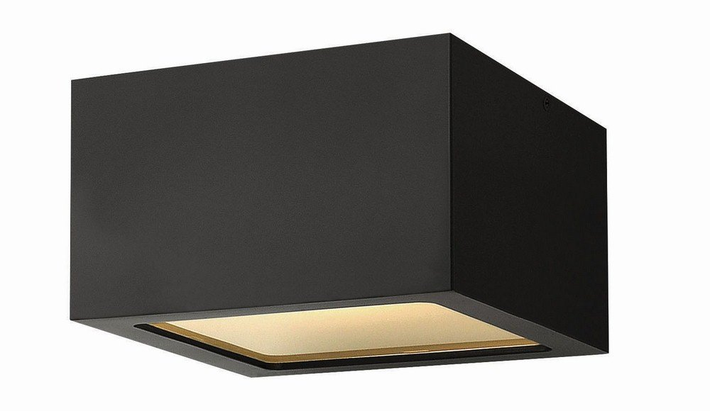 Hinkley 1765SK Contemporary Modern One Light Outdoor Flush Mount from Kube collection in Blackfinish, by Hinkley
