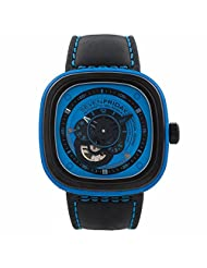 Seven Friday P1-4 Automatic Ion Plated Stainless Steel Case Black Leather Mineral Men's & Women's Watch
