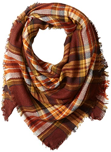 Price comparison product image La Fiorentina Women's Oversized Square Plaid Scarf, Natural, One Size