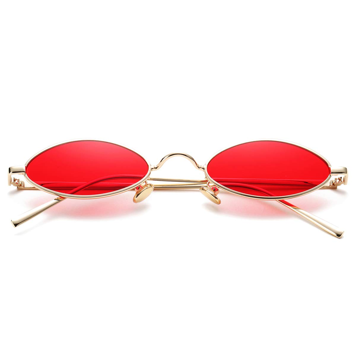 A3 gold Frame Red Lens Vintage Small Oval Sunglasses for Women Men Hippie Cool Metal Frame Sun Glasses