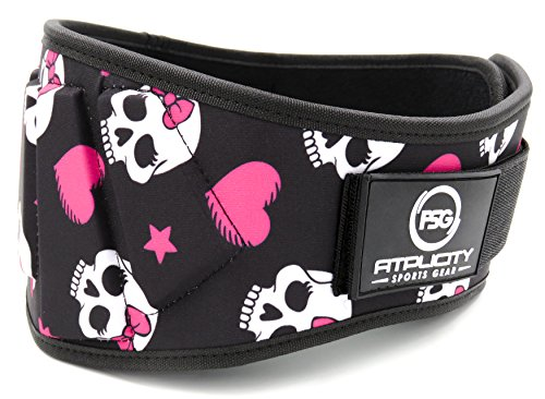 Fitplicity Weight Lifting Belt by (Pink Skulls, X-Small)