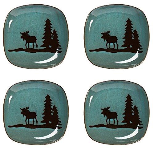 Nature's Home Lodge Moose Squared Stoneware Salad Plates, Set of 4 ()