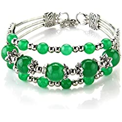 Bracelet - TOOGOO(R) Bracelet Bangle wrist jade tour has 3 rank for women green 6-10mm