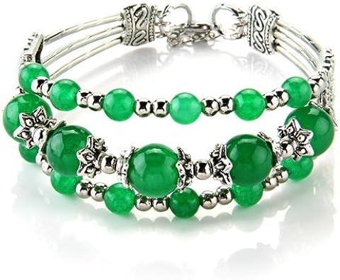 SODIAL(R) Pulsera Brazalete de Jade Tibet Plata 3 Filas Abalorios Color Verde