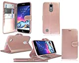 LG K8 2017 (5.0') X300 M200N LV3 M210 Aristo & K4 (2017) LGX230DS Titan New Stylish Rose Gold Leather Flip Stand Wallet Phone Case Cover + Screen Protector