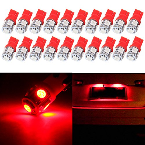 License Plate Lights,cciyu Red T10 W5W Wedge 168 194 LED Bulb,20 Pack