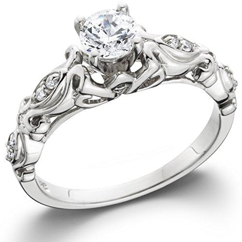 1/2CT Vintage Diamond Engagement Ring 14K White Gold