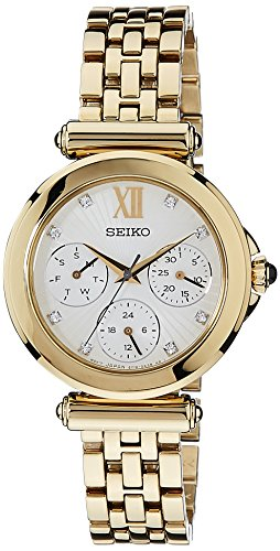 Seiko Multi-Function White Dial Gold-plated Ladies Watch SKY698