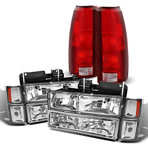 (For Chevy C/K 1500/2500/3500 Tahoe Suburban Silverado Full Size C10 Headlights + Bumper Light + Tail Brake Lamp)