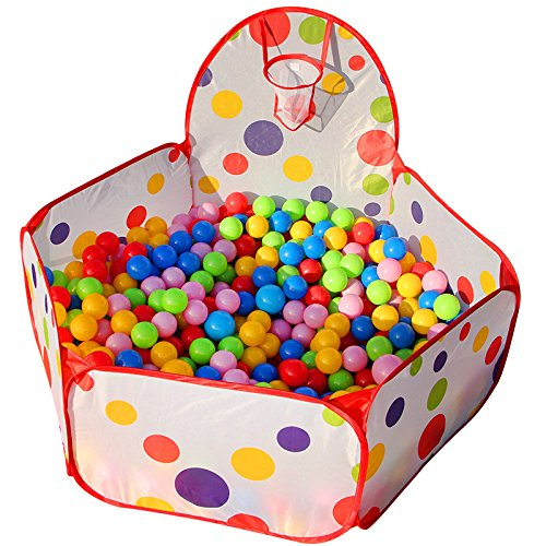 Aeroway® Kids Red Ball Pit Playpen Toddler Play Tent Ball Pool with Mini Basketball Hoop and Zipper Storage Bag, 4 Feet/ 120 cm, Balls Not Included