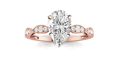 2.00CT Pear Shape Certified Solid 14K White Gold Women Engagement Diamond Ring