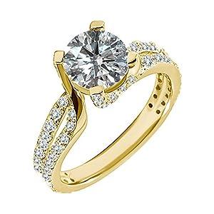 1.6 Carat G-H I2-I3 Diamond Engagement Wedding Anniversary Halo Bridal Ring Set 14K Yellow Gold