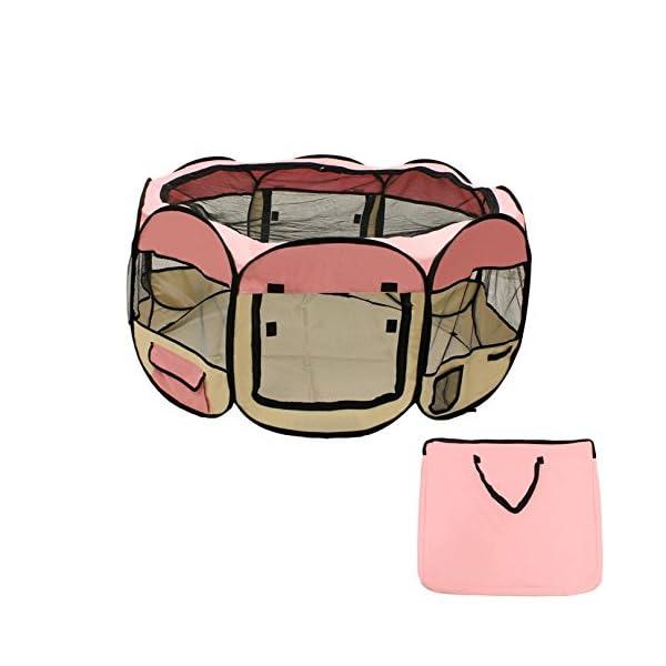 ALEKO DK-61-PK Octagon Pet Playpen Puppy Dog Cat Rabbit Exercise Kennel 57 x 24 Inches Pink