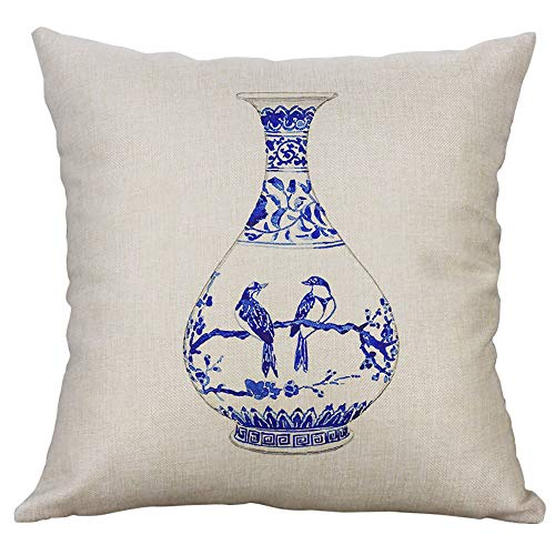 Cushion Cover - Blue And White Porcelain Printed Cushion Cover Chinese Style Art Vase Pattern Pillowcase Linen - Dining Flower Japanese Case Cover Gray Easter Straps Beach Design Geometri
