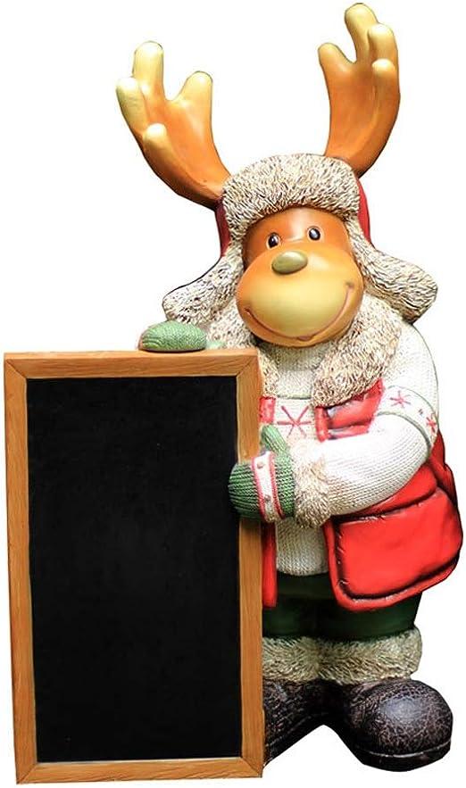 庭の装飾 黒板のための家でガーデンエルク漫画のクリスマスギフトアウトドアガーデニング食料品のクリエイティブ動物のウェルカムサイン 最適なプレゼント (Color : Multi-colored, Size : 31x23x50cm)
