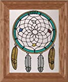 Southwest Native American Dreamcatcher 10.5'' Wide x 12.5'' High Hand Painted Art Glass Panel