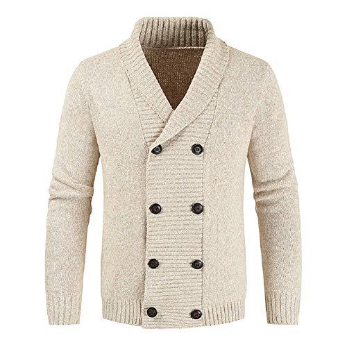 JEKAOYI Men's Knitwear Button Down Shawl Collar Cardigan Sweater with Pockets