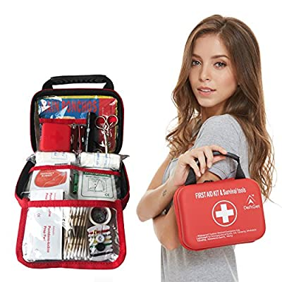 Compact First Aid Kit - Mini Survival tools box - Waterproof Outdoor Medical Emergency bag Lightweight for Emergencies at Home Car Camping Workplace Traveling Adventures Sports Hiking by deftget from DEFTGET