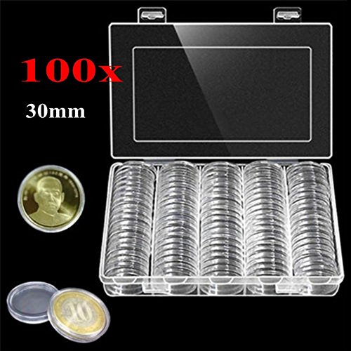 (angel3292 Clearance Deals 100Pcs/Box 30mm Round Coin Storage Holder Plastic Display Case Collectibles Gift)