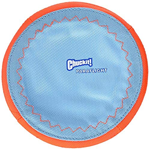 Chuckit! Paraflight Flyer Dog Frisbee for Long Distance Fetch Orange/Blue, Small