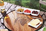 """Rustic Wine Barrel Lid Tray with Etched Grape Design by Mercuries - Extra Large 22"""" Diameter"""