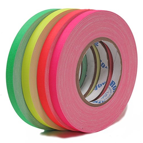 (Fluorescent Spike Tape 1/2 inch x 50YD - 4 Pack - Green, Pink, Yellow, and Orange Cloth Tape Packaged in a 4 mil Resealable Poly Bag)