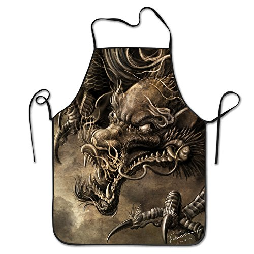 Apron Burly Hailin Dragon Colorful Baking The Character Apron Commercial Restaurant Home Bib Spun Poly Cotton Kitchen Apron for Tailgating BBQ Grill Pit Master (Commercial Character Costumes)
