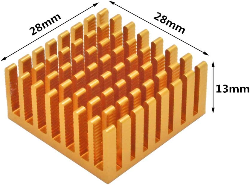 1.38x1.38x0.55 inches with Thermal Conductive Adhesive Tape for Electronic Chip LED Cooling Heat Dissipation 10pcs Aluminum Heatsink 35x35x14mm