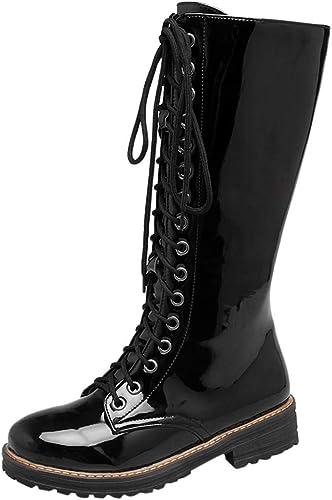 Damen Stiefel mit Schnürsenkel Blockabsatz Plateau