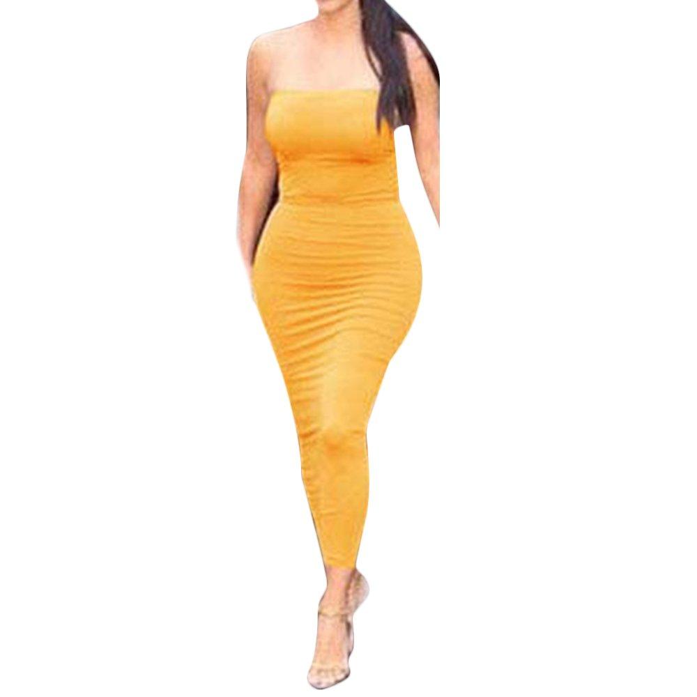 Estyle Fashion Damen Langes Kleider Sommer Gepolsterte Büste Dress Nachtculb Slinky Kleid Stretch