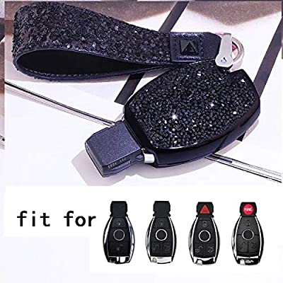 Royalfox(TM) Luxury 2 3 Buttons 3D Bling Girl Smart keyless Entry Remote Key Fob case Cover for Mercedes-Benz A C E S Class Series,GLK CLA GLA GLC GLE CLS SLK AMG Series,with Keychain (Black)