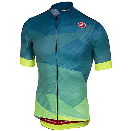 Castelli Flusso Full-Zip Jersey - Men's Blue/Yellow Fluo, ()