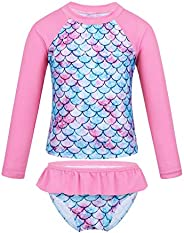 YOOJIA Kids Girls Fish Scales 2-Piece Rash Guard Swimsuit Swimwear Long Sleeves Top with Bottom UV Sun Protect