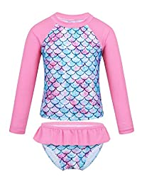 YOOJIA Kids Girls Fish Scales 2-Piece Rash Guard Swimsuit Swimwear Long Sleeves Top with Bottom UV Sun Protection Sets
