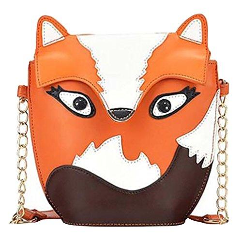 ZhiYuanAN Casual Nouveau Ultra Mignon Mini Packet Meng Owl Petit Fox Rétro Hit Couleur Sac À Main Sac Épaules Messenger Bag Renard