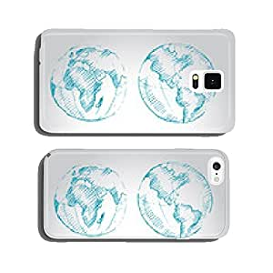 World Map Earth Globe. Sketch. Vector illustration. cell phone cover case Samsung S5
