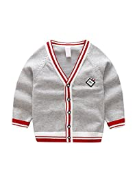 AIKSSOO Boys Sweater Cardigan Knitted Organic Cotton Button Crochet for Boys
