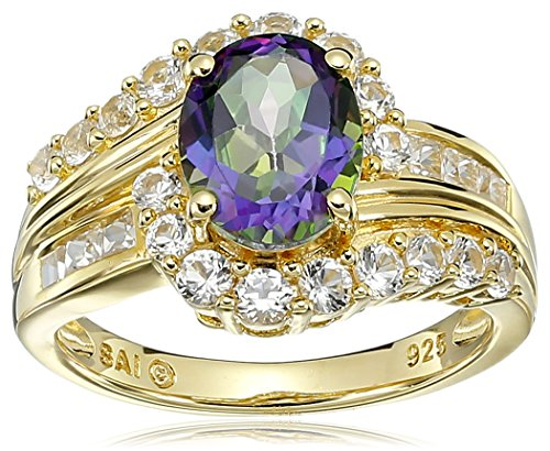 Sterling-Silver-with-Yellow-Gold-Plating-Mystic-Fire-Topaz-and-Created-White-Sapphire-Oval-Ring-Size-7