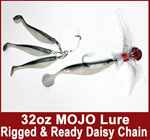 Blue Water Candy – Rock Fish Candy 32 oz Cannonball (Black/Red/White) Mojo Striper Daisy Chain Lure, Loaded with 9-Inch Swimbait Shad Body&3 x 6-Inch Trailing Shads – Rigged&Ready (Black/Pearl)