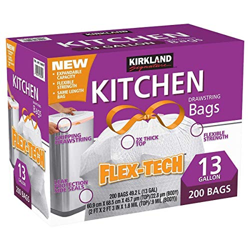 Kirkland Signature kli Drawstring Kitchen Trash Bags - 13 Gallon - 200 Count (.4 Pack) by Kirkland Signature (Image #1)