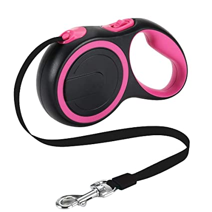 Retractable Dog Leash Walking Leash Durable Cord Retractor Pet Supplies for Large Medium Small Dog Pink