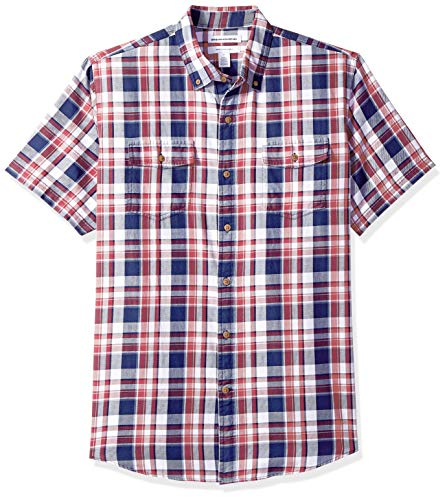 Amazon Essentials Men's Regular-Fit Short-Sleeve Two-Pocket Twill Shirt, White/red Plaid, ()