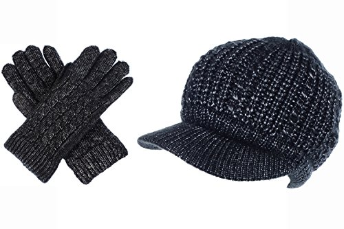 BYOS Women Winter Metallic Cable Knit Beanie Hat Gloves Set, Warm Fleece Lined Wool Beret Newsboy Cap with Visor (Metallic Mercury Gray Set)