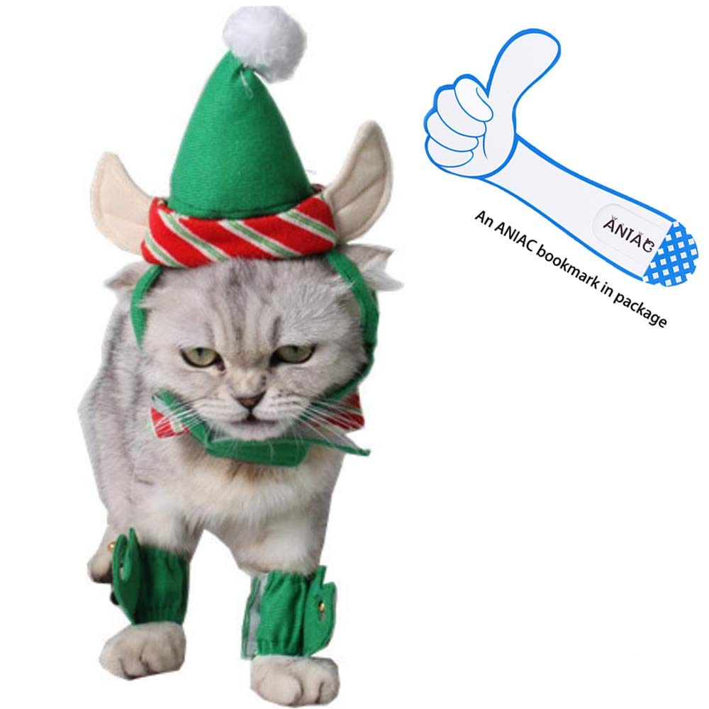 Cat Christmas.Aniac Cute Cat Dog Christmas Costume Xmas Clothes Green Elf Outfit For Small Pets