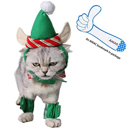 ANIAC Cute Cat Dog Christmas Costume Xmas Clothes Green Elf Outfit for  Small Pets - Amazon.com: ANIAC Cute Cat Dog Christmas Costume Xmas Clothes Green