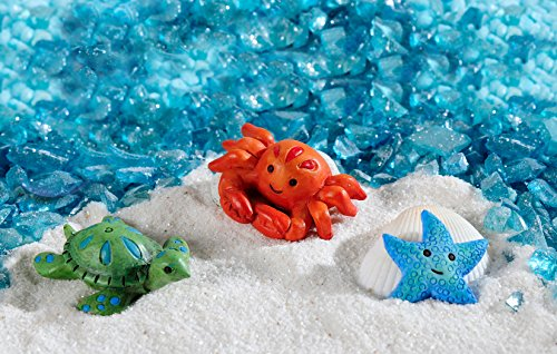 1.5' Glitter (Gift Craft Set of 3 Miniature/Fairy Garden Sea Creatures - Starfish, Turtle, Crab with Crushed Blue Aquamarine Decorative Glass Stones with Glitter)